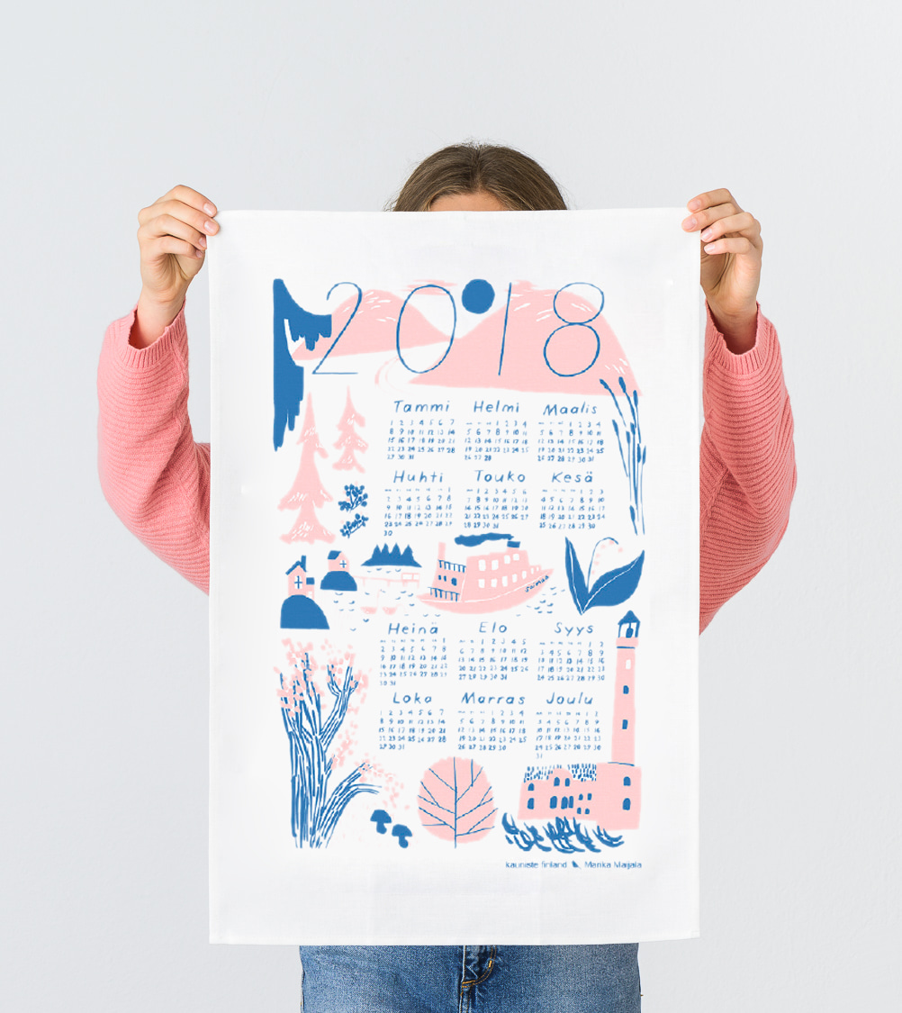 2018 Calendar pink Kitchen towel