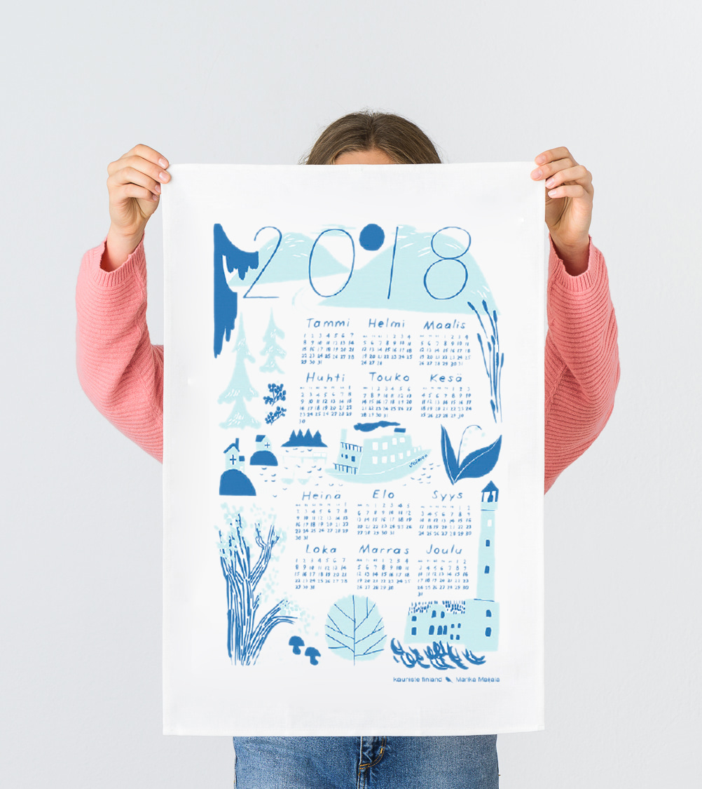 2018 Calendar blue Kitchen towel